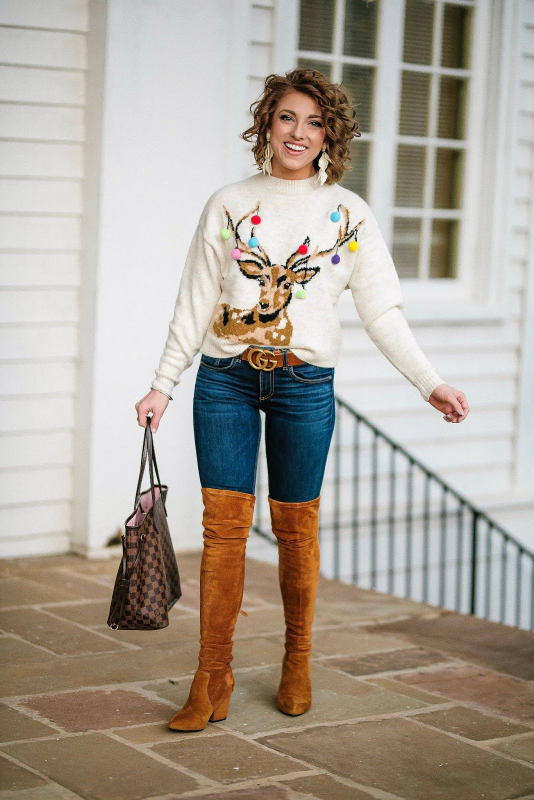 Casual Holiday Style: Pom Pom Reindeer Sweater - Something Delightful Blog