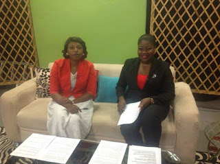 Picture of Yetunde Oshinbiyi and I preparing for our set on Safiya Breakfast Show