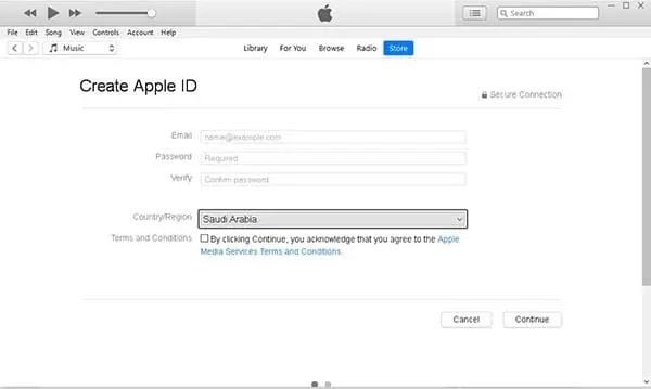 انشاء حساب ابل من iTunes