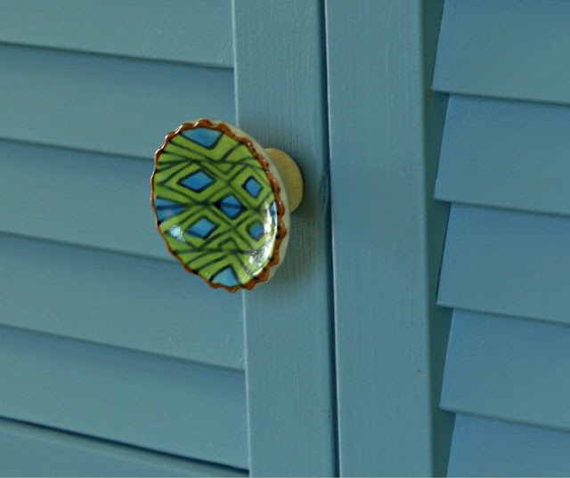 Fusion BLUE Champness Mineral Paint  and Ceramic Handpainted Knob