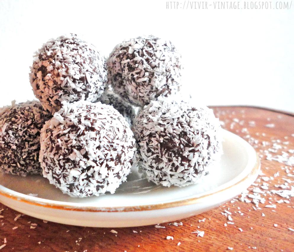 trufas sanas de chocolate y coco
