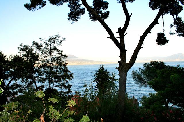 alberi, vegetazione, mare, acqua, cielo, tramonto, Vesuvio