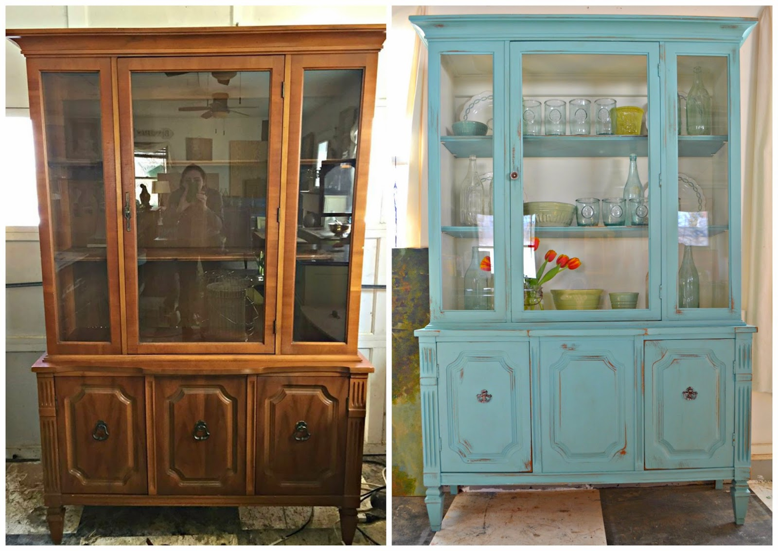 charming antique white wash furniture | Heir and Space: A Vintage Hutch in White and Aqua