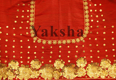 Red blouse with 3d embroidery bridal blouse