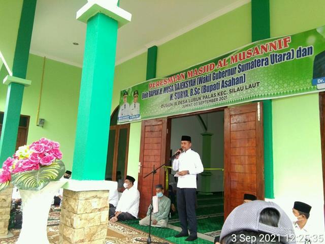 Dandim 0208/Asahan Hadiri Peresmian Masjid Al-Mussanif Oleh Wakil Gubernur Sumatera Utara