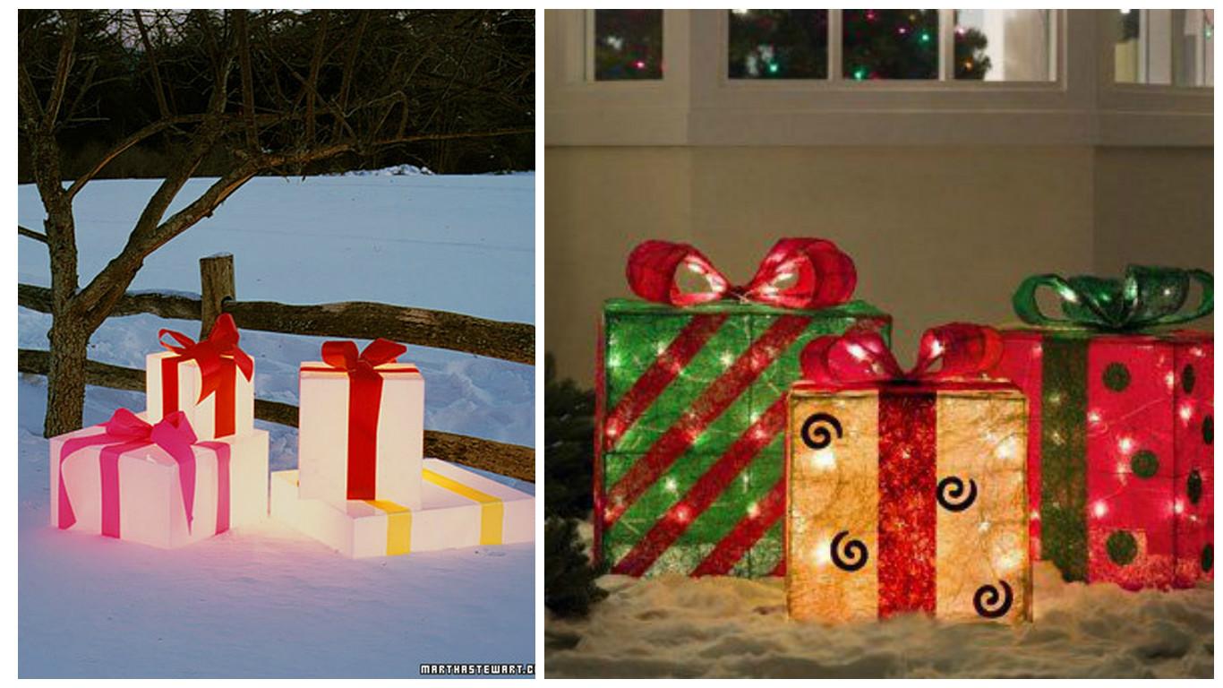 Cajas de regalo para decorar exteriores en navidad for Decoracion exterior navidena