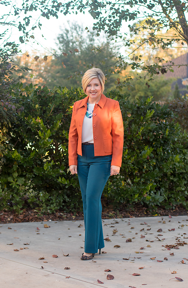 teal and orange outfit, fall office outfit