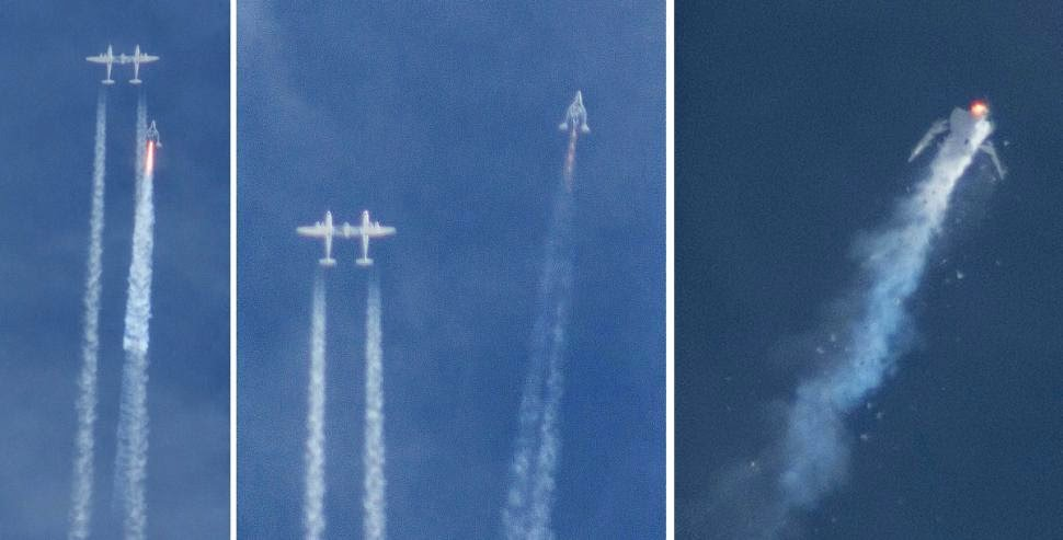 Virgin Galactic SpaceShipTwo broke apart after it launched from its carrier aircraft. Credit: Kenneth Brown/AP