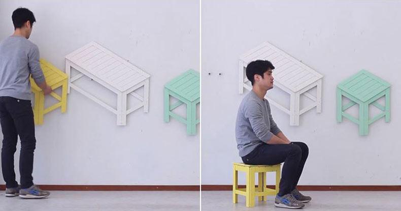 Muebles plegables que se cuelgan en la pared cuando no están en uso