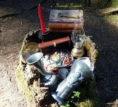 Tronco d'albero scavato e tesori