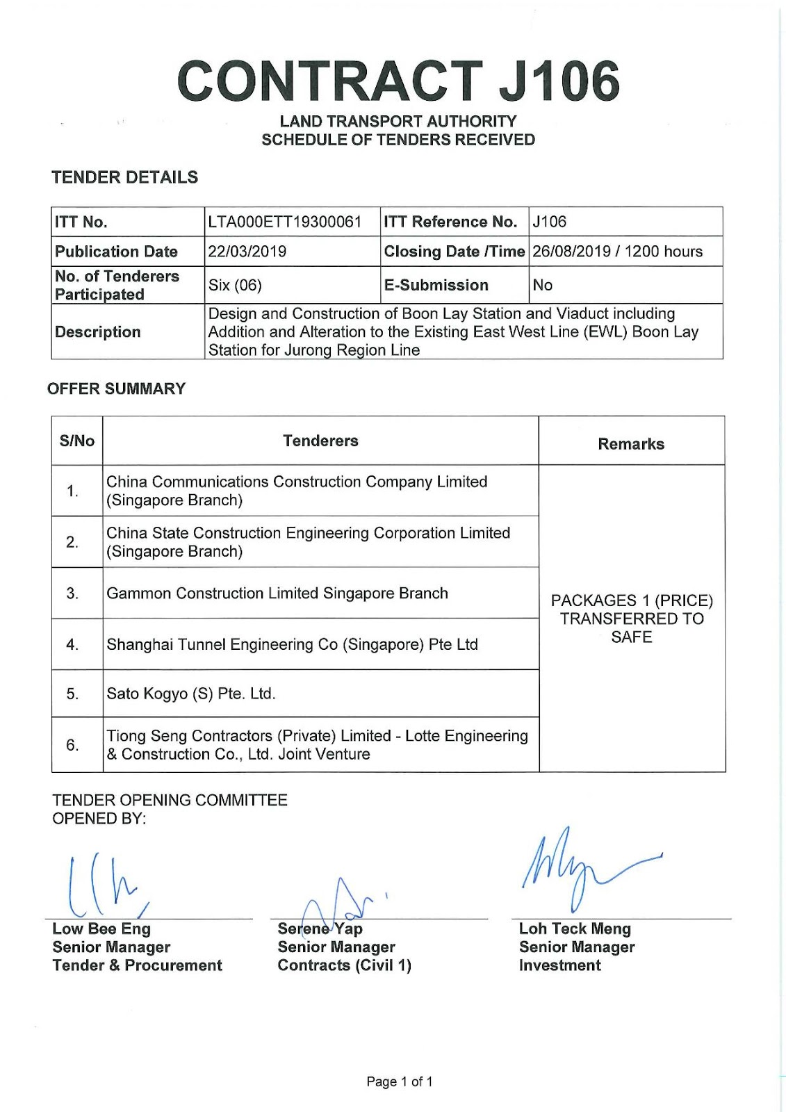 Jurong Region Line Construction: JRL3 - Tender process
