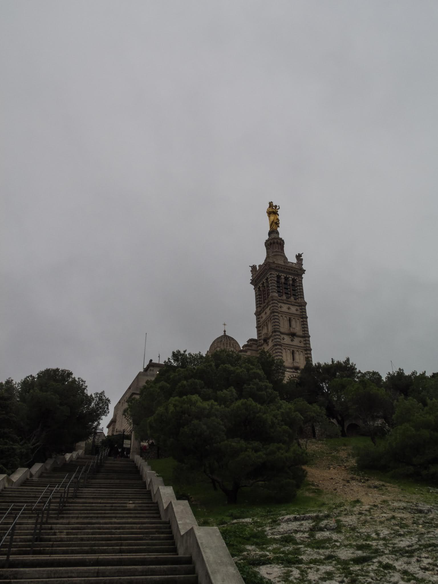 200 steps leading up the Basilica of Notre Dame de la Garde in Marseille.