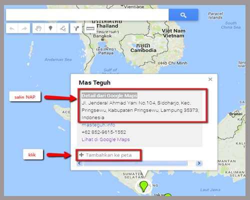 salin info NAP - tambahkan ke peta