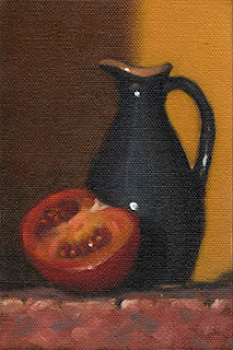 Still life oil painting of a small blue sauce jug beside a tomato cut in half.