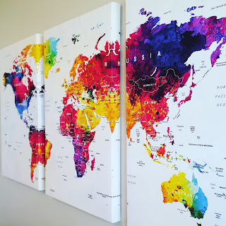 Extra large map artwork with country labels - great for classroom, kids room, or living room