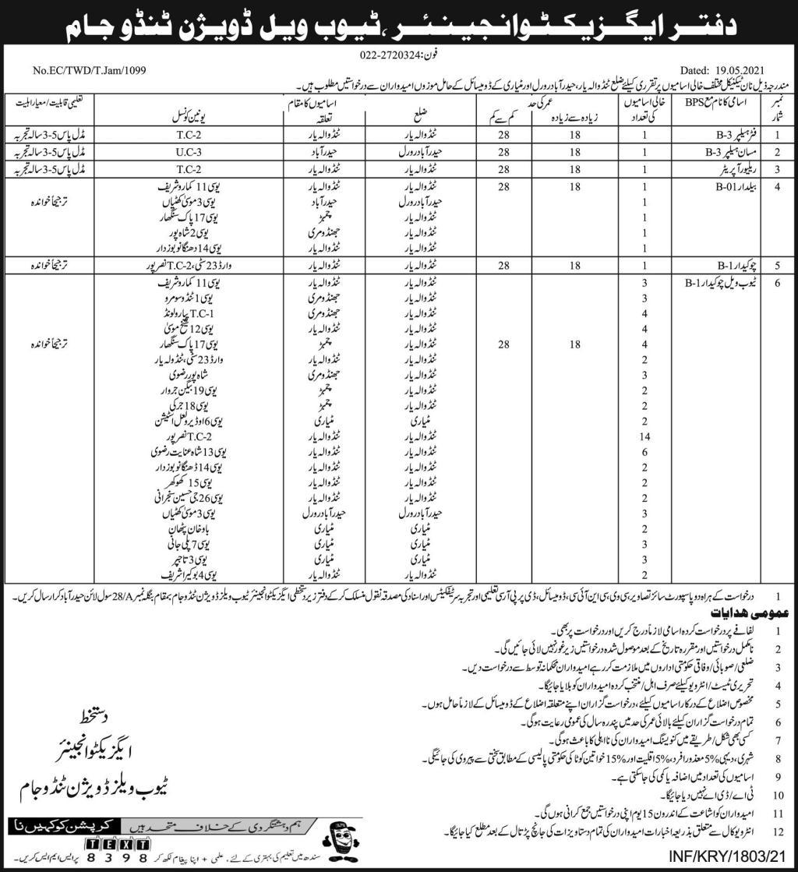 Tubewell Division Tando Jam Sindh Jobs 2021