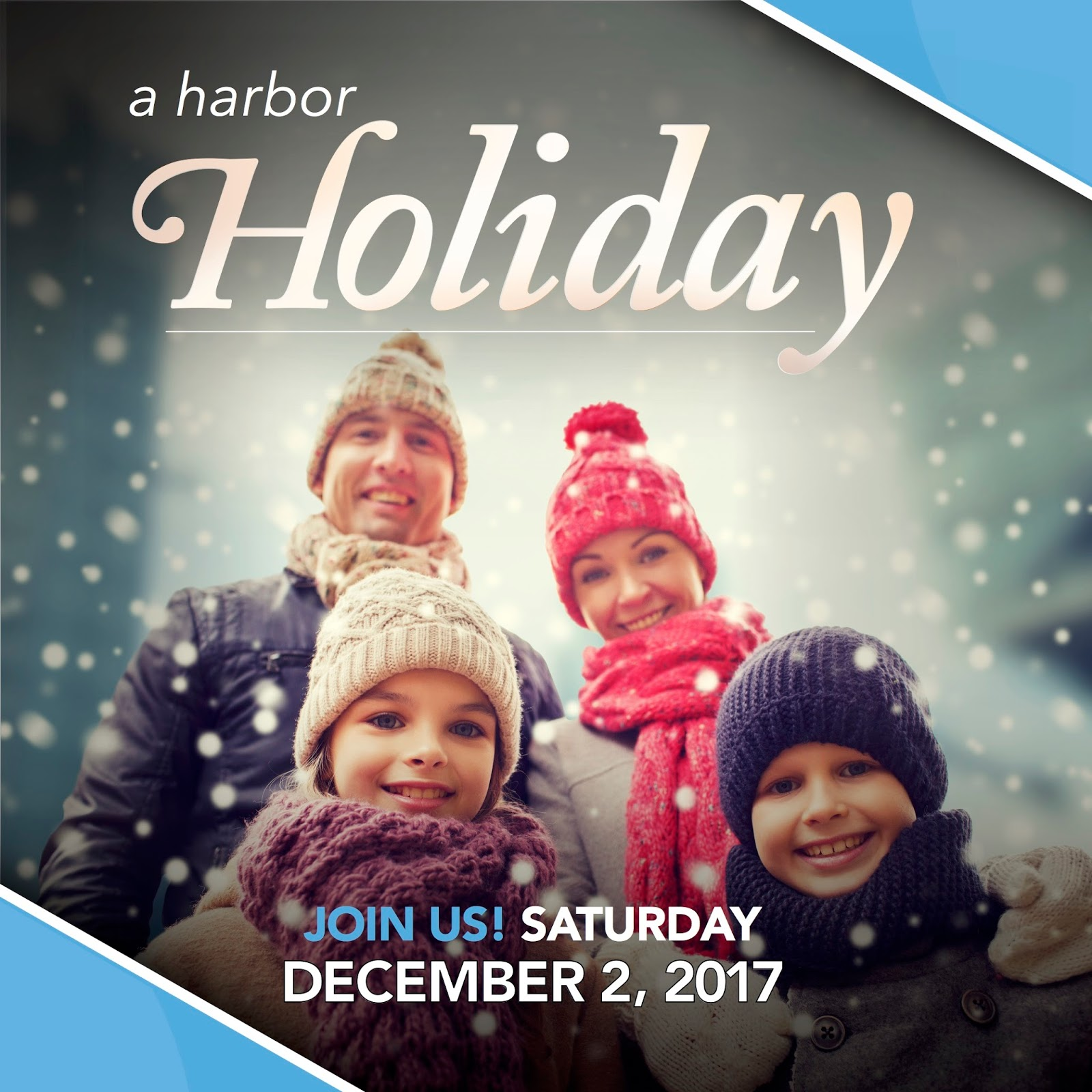 Harbor Holiday promo graphic featuring family of 4 smiling with snow falling