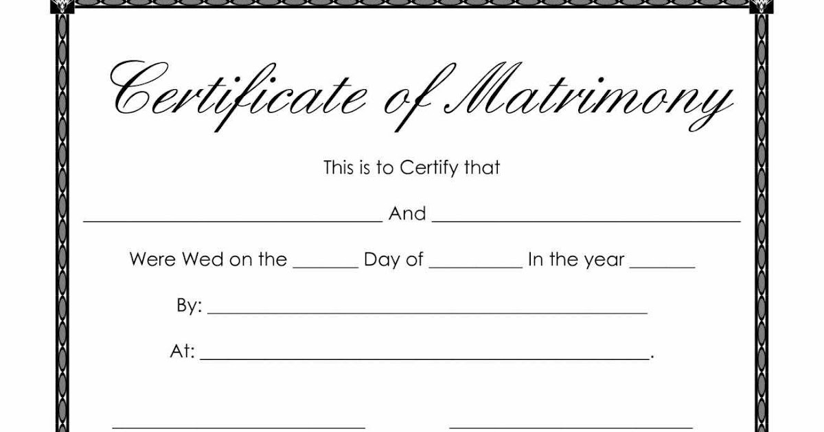 Certificate Templates: Sample Marriage Certificates