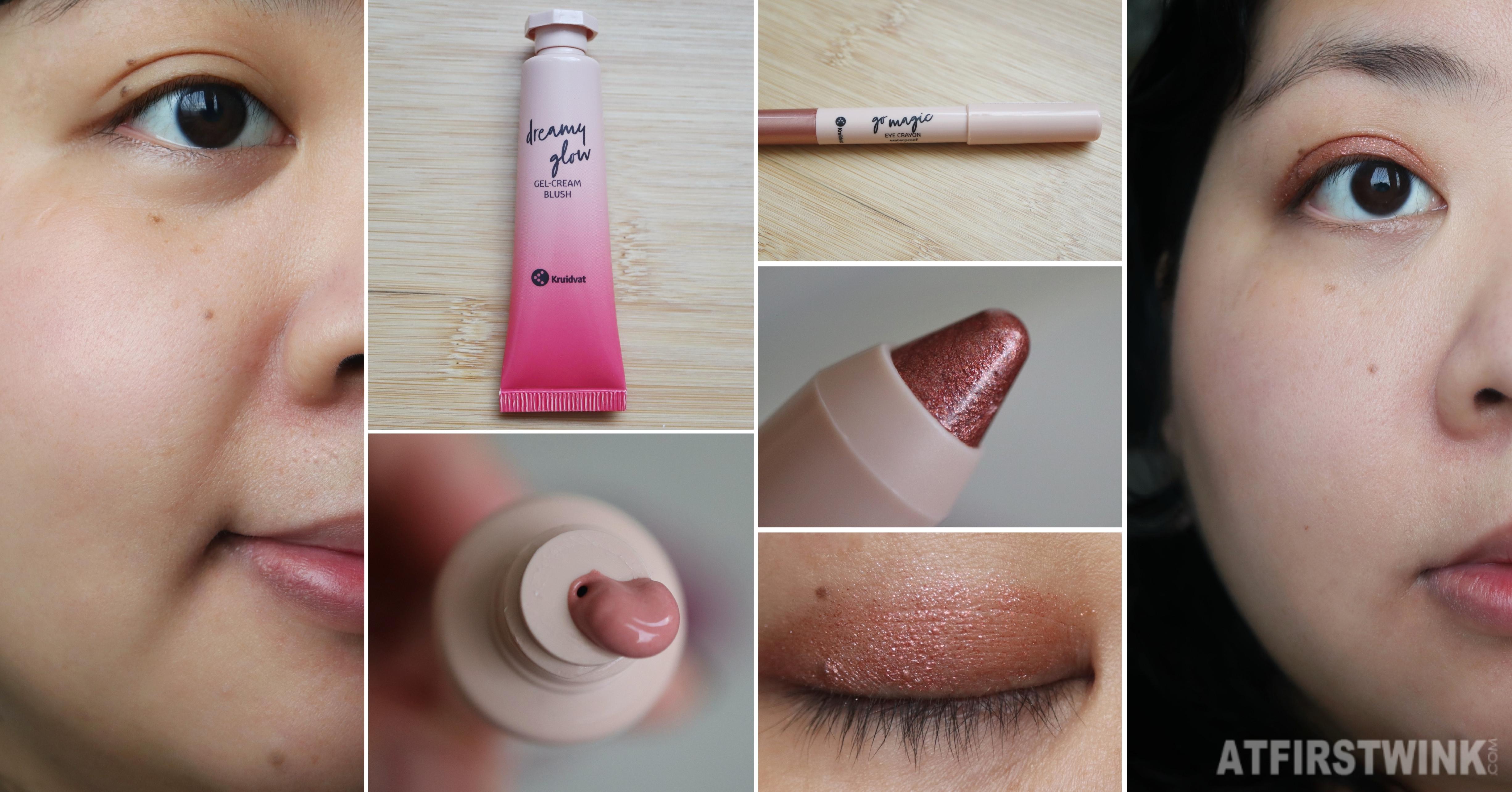 Kruidvat Dreamy Glow gel-cream blush 020 delicate rouge  Kruidvat Go Magic Eye Crayon 3-in-1 waterproof 030 copper love