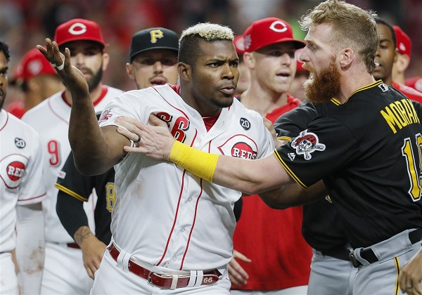 Pirates-Reds brawl: Yasiel Puig goes nuts as news breaks he's been traded