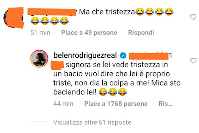 Belen Rodriguez infuriata risposta critiche foto Instagram
