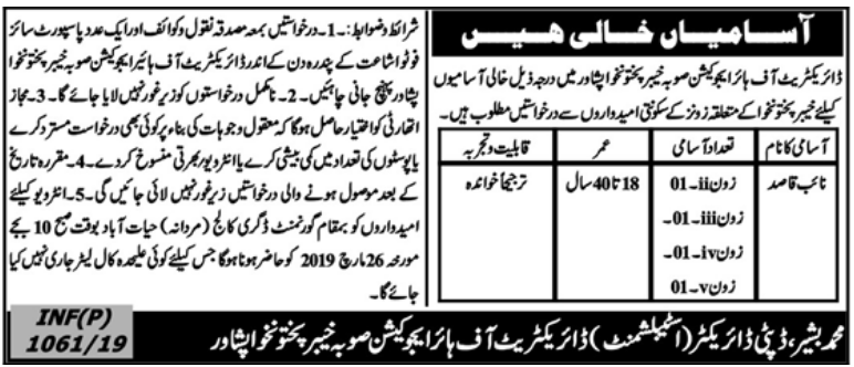 Advertisement for Higher Education Department Jobs