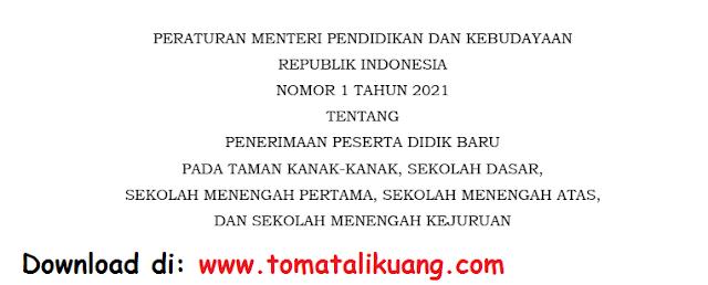 juknis ppdb tk sd smp sma smk 2021 pdf permendikbud ri nomor 1 tahun 2021