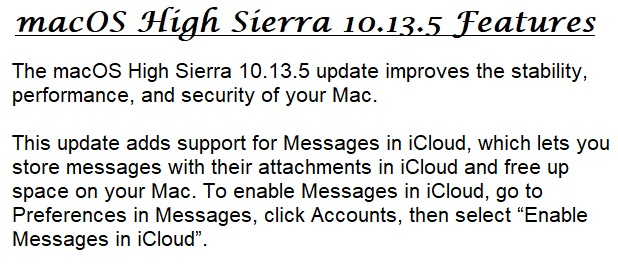 macOS High Sierra 10.13.5 Features