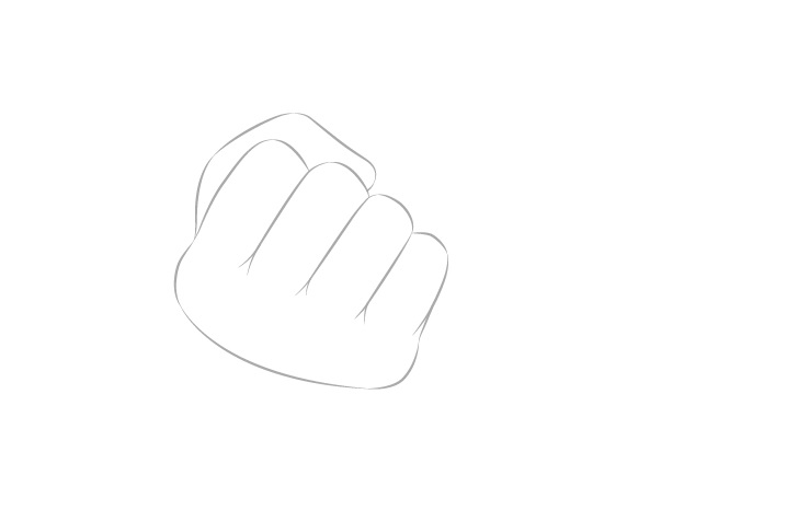 Tangan memegang sumpit dengan gambar jempol kepalan tangan