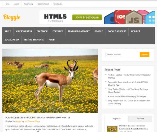 Tema Wordpress Gratis - Bloggie