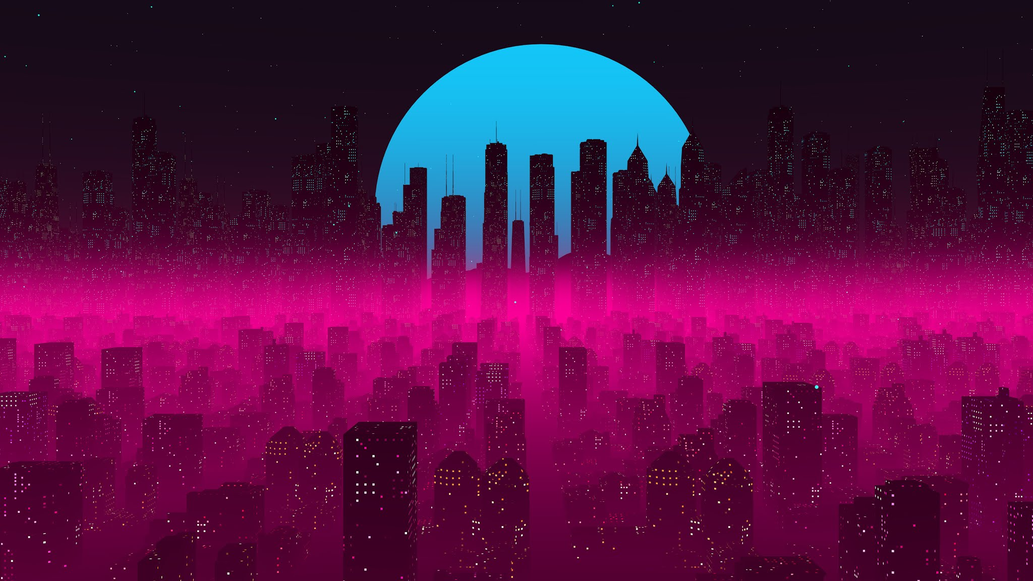 Vapor Synthwave Retro City 4k