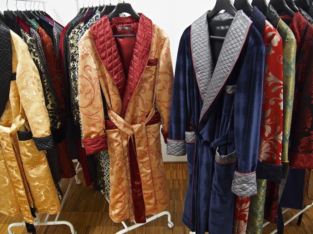 Gentleman's Silk Dressing Gown And Velvet Smoking Jacket Robe
