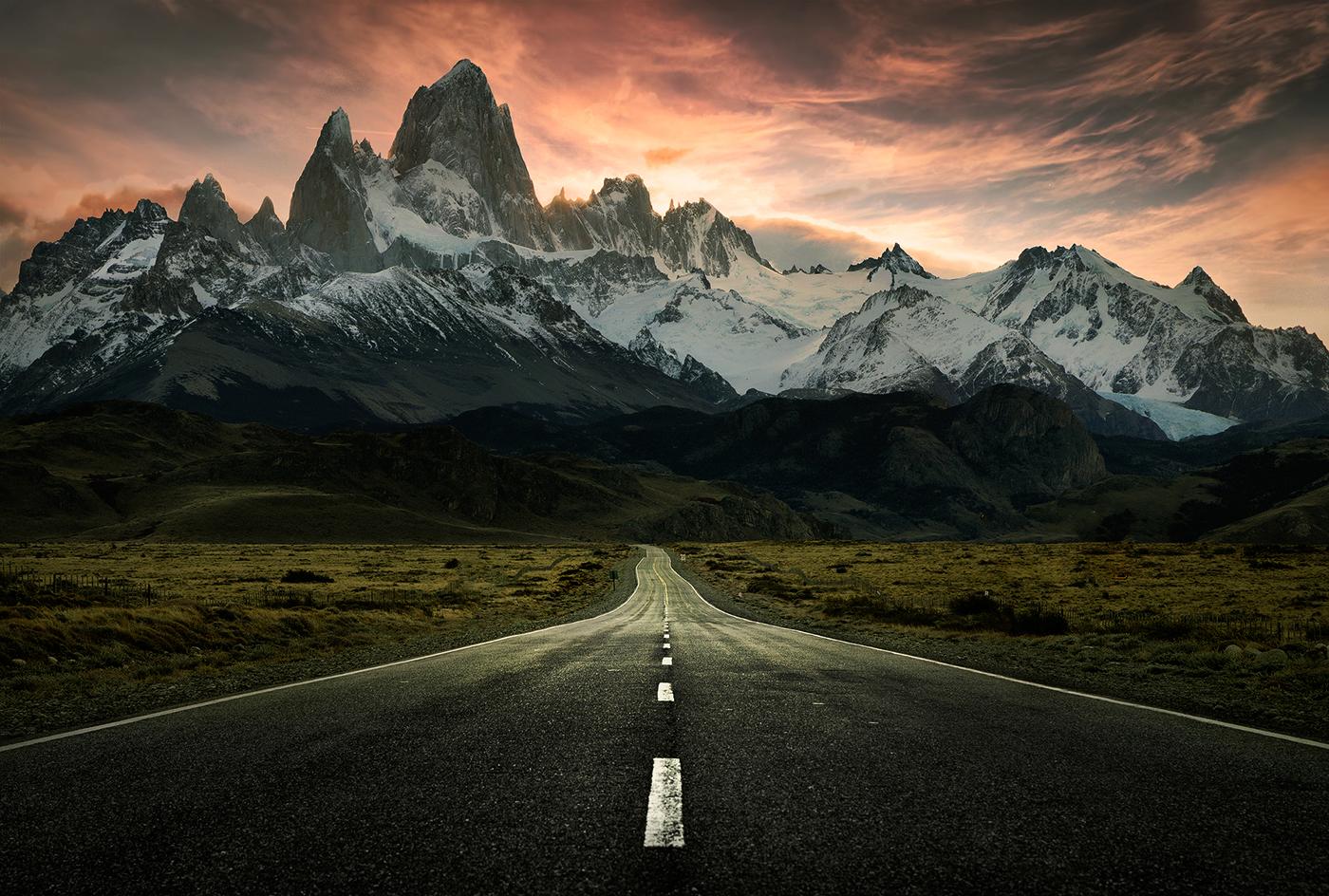 Fotografi Landscape Wallpaper Pemandangan Alam Ukuran HD gunug dan jalan di Es