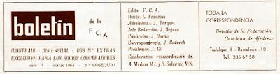 Bolentín de la Federación Catalana de Ajedrez, número 0, marzo 1964