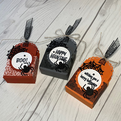 Halloween Treat Boxes made in with Stampin' Up! Little Treat Box Bundle