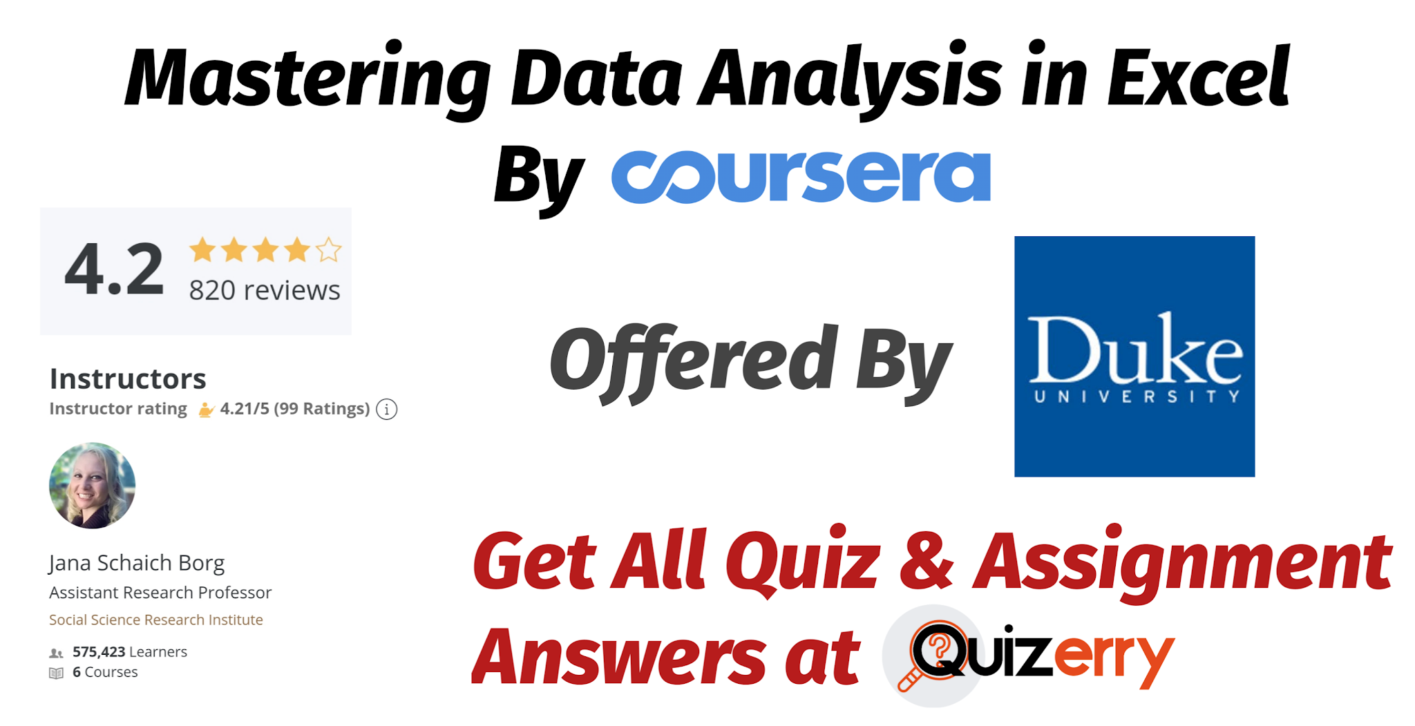 Mastering Data Analysis in Excel - Coursera Quiz Answers