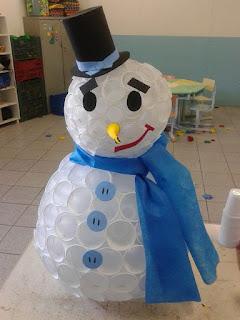 passo a passo boneco de neve feito com copos descartáveis