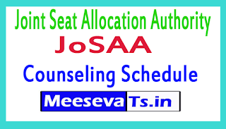 JoSAA Counseling Schedule 2017