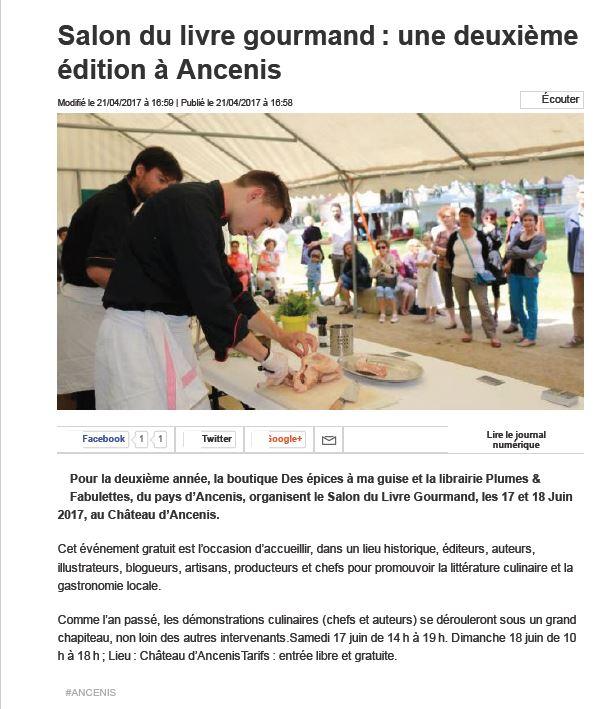 Salon du livre gourmand en pays d 39 ancenis ouest france du for Salon du livre 2017 montreuil