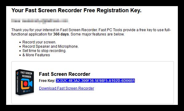 fast screen recorder license key