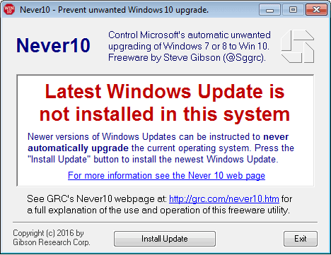 Never10 notifica ultima versione Windows Update non installata
