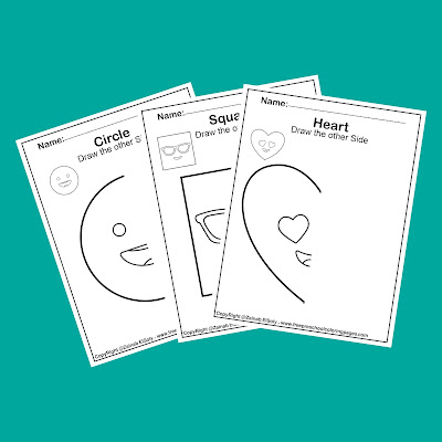 symmetry shapes faces draw the other half of the picture free printable preschool coloring pages ( circle, square,rectangle,triangle,rhombus,heart,hexagon,pentagon,oval)