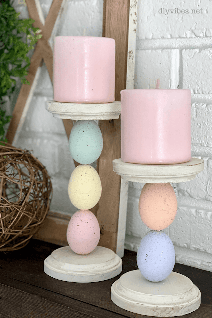 DIY Easter egg candle holders.