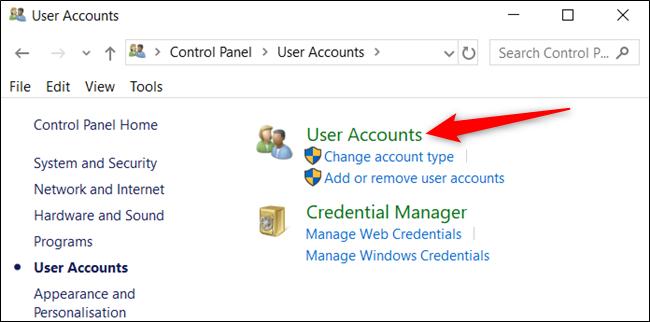 """انقر فوق """"حسابات المستخدمين"""" مرة أخرى."""