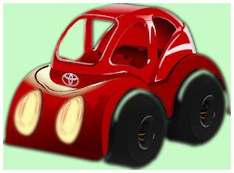 Pieni, punainen piirrosauto.