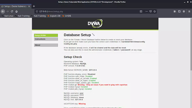 DVWA setup screen