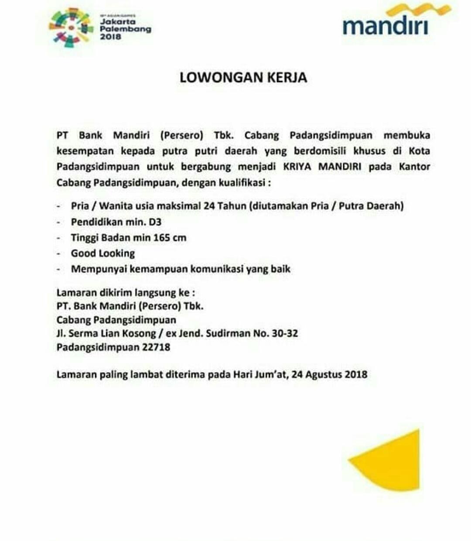 Informasi Loker Medan Terbaru Kriya Mandiri Di Pt Bank Mandiri Persero Kc Padangsidempuan Poskerjamedan Com