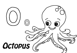 O For Octopus Alphabets Coloring Sheet