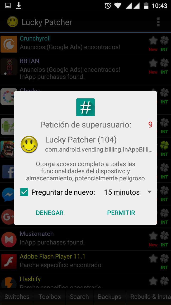 una vez reiniciado ir a la app de lucky patcher y permitirle permisos de sper usuario