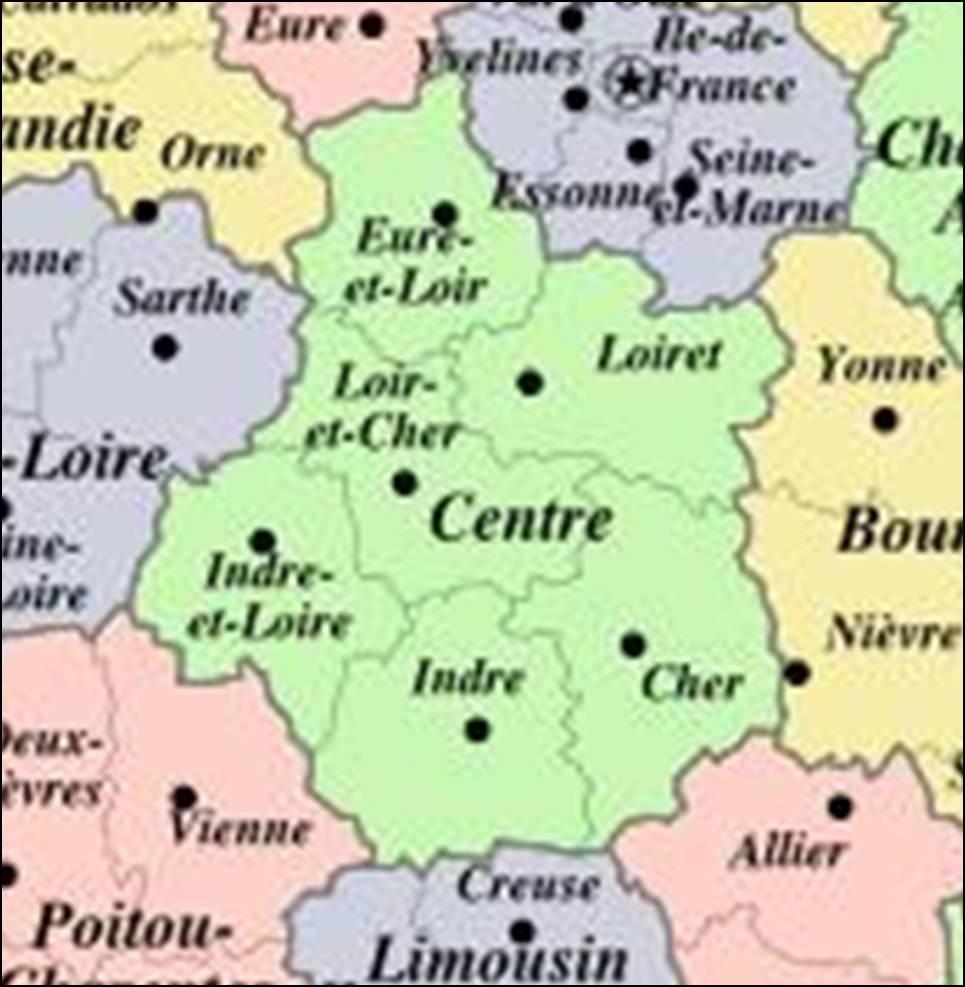 Kaart Frankrijk Departementen Regio S Kaart Centre Vakantie